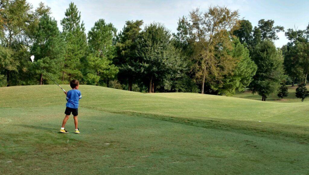 Alex Santos - admiring his golf shot